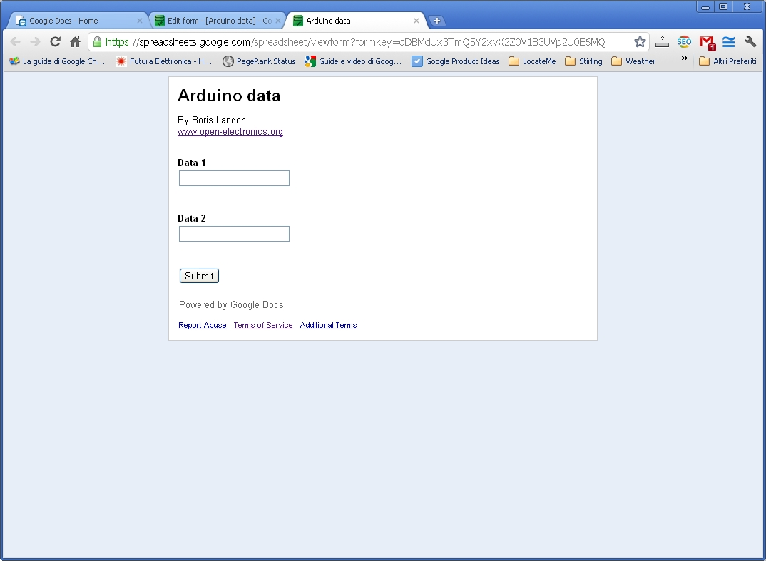 How send data from arduino to google docs spreadsheet for Google documents and data
