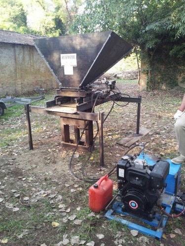 The CEB Press - Liberator  - built in italy. This machine is able to produce bricks from soil.
