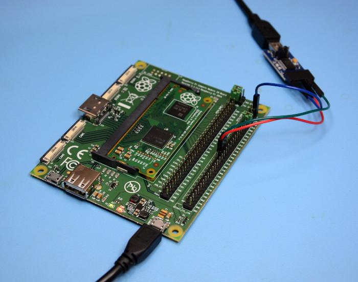 Raspberry Pi Compute Module plugged