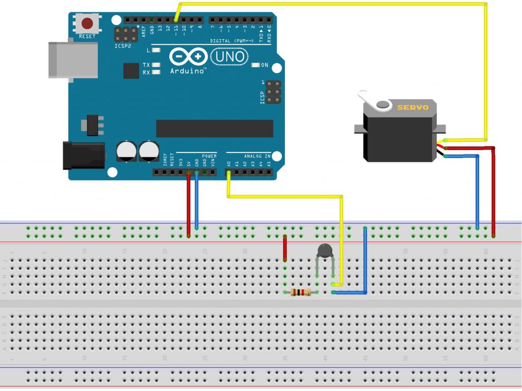 Servo Motor Controlled Analog Thermometer Using Thermistor