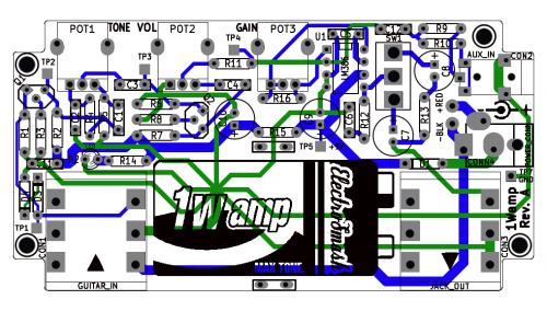 1wamp open hardware 1 watt guitar amplifier open electronics. Black Bedroom Furniture Sets. Home Design Ideas