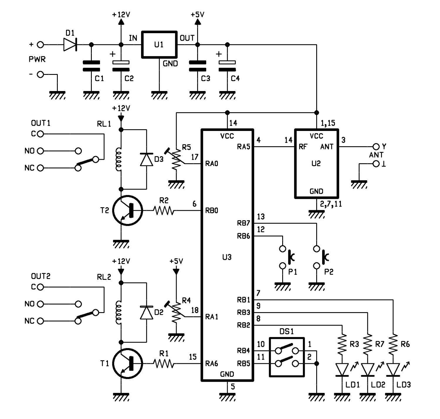 A 2 Channel Receiver That Can Save Your Old Motorola Tx Open Relay Bistable Circuit Each Is Excited By The Saturation State Of Respective Transistor Which In Turn Polarized Following Microcontroller Line Drive It When