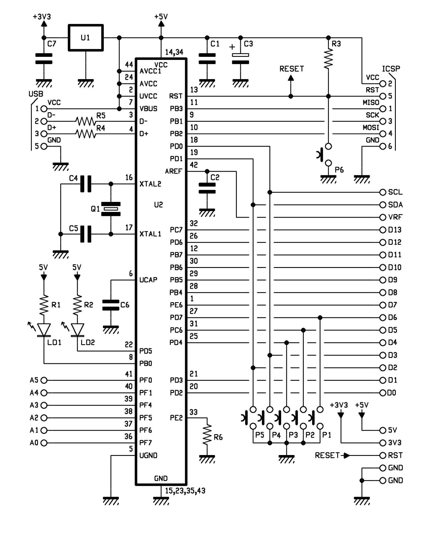 An Electronic Business Card On A Board Open Electronics Circuit Diagram Showing Usb Connections Button That Brings It To Ground When You Have Manually Reset The Microcontroller Automatic Is Managed By Pc Through Connection